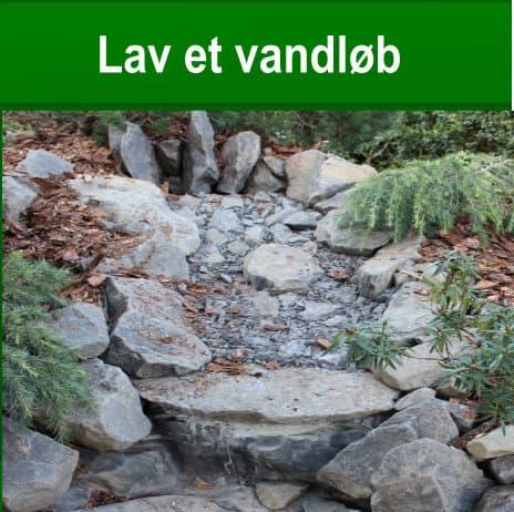 lav et vandløb eller vandfald ved havedam