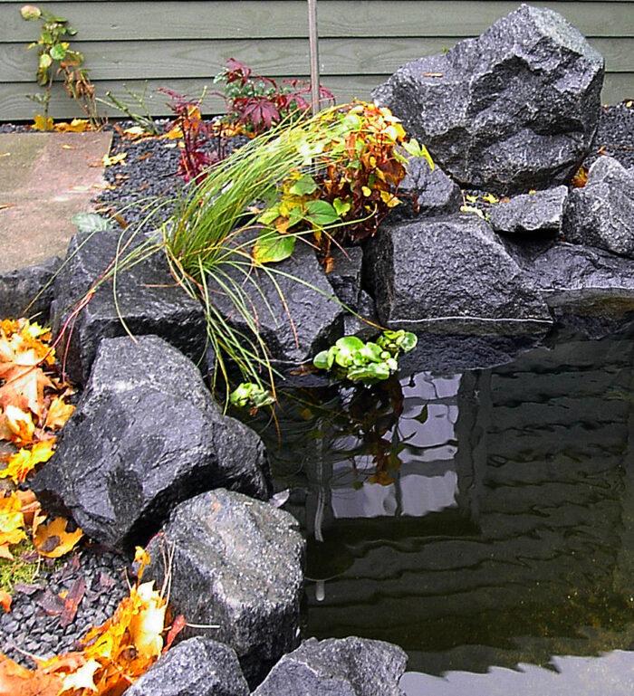 sten eller granit  i vandkant i havedam eller havebassin